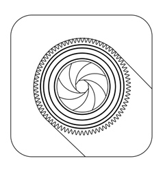 Square shape with silhouette camera shutter vector