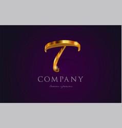t gold golden alphabet letter logo icon design vector image