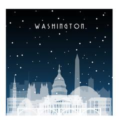 Winter night in washington night city in flat vector