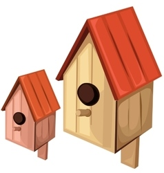 Wooden birdhouse on a white background vector image vector image