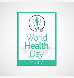 world health day icon vector image