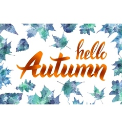 Cool fresh blue hello autumn design with elegant vector