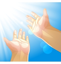 Hands outstretched to the sun vector