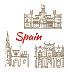 Thin line icons of Spanish landmarks vector image