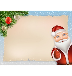 Christmas card with santa and fir vector