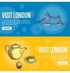 Visit london touristic web banners vector