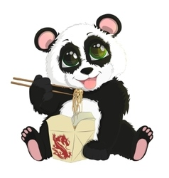 Cute funny baby panda eating chinese noodles vector