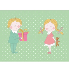 Birthday card with two cute children vector