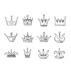 hand drawn doodle nobility queens crowns vector image
