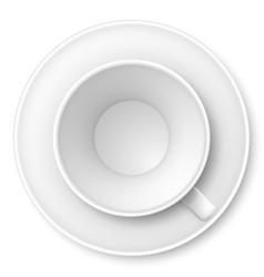 White mug and saucer on white background vector