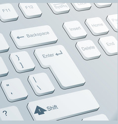 enter button realistic keyboard 3d design vector image