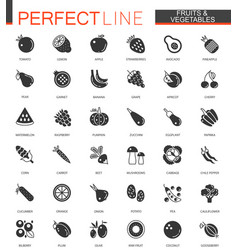 Black classic fruits and vegetables web icons set vector