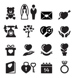 Valentine day wedding love icons set vector