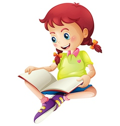 A young lady reading a book vector