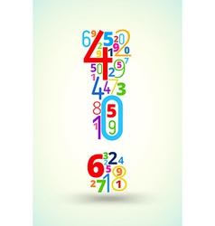 Exclamation mark colored font from numbers vector