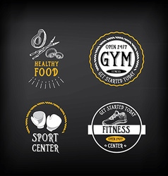 Gym and fitness club logo design sport badge vector