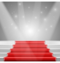 Photorealistic stairs with red carpet and vector