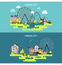 Spring summer ferris wheel vector