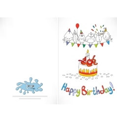 Happy birthday card cartoon funny bird on a vector
