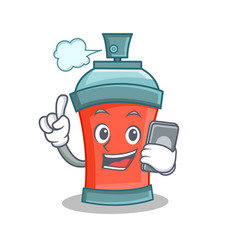 Aerosol spray can character cartoon with phone vector
