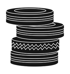 Barricade from tires icon in black style isolated vector