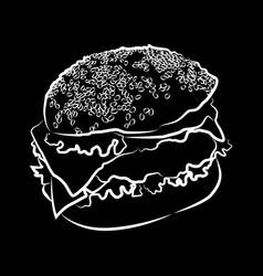 Big burger on black vector