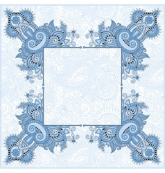 Blue colour frame ethnic ukrainian ornament vector