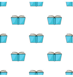 Blue opened book icon in cartoon style isolated on vector