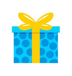 Blue polkadot gift box vector