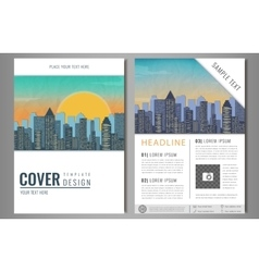 Brochure Flyer design with city landscape vector image vector image