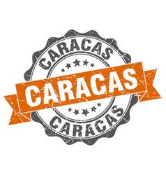 Caracas round ribbon seal vector