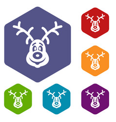 Christmas deer icons set vector