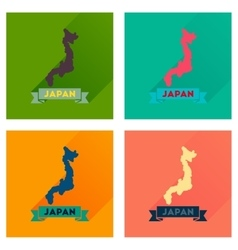 Concept flat icons with long shadow map of japan vector