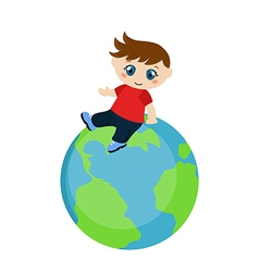 Cute boy sitting on blue planet vector