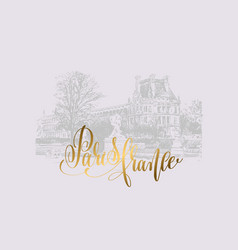 Drawing of the louvre paris france with golden vector