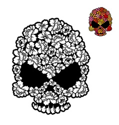 Flower skull coloring book mexican head skeleton vector