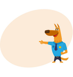 Funny shepherd dog character in blue police vector