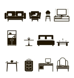 Furniture Icons and Symbols Isolated Silhouette vector image