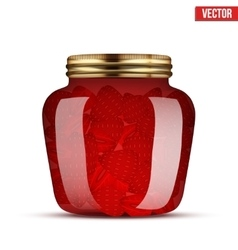 Glass Jar with strawberries jam vector image