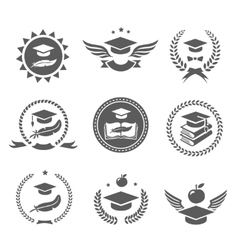 Graduation cap labels set College study diploma vector image vector image
