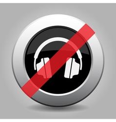 gray chrome button - no headphones vector image vector image