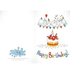 Happy birthday card cartoon funny bird on a vector