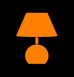 lamp sign orange icon on black vector image vector image