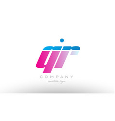 qr q r alphabet letter combination pink blue bold vector image vector image