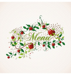 Red apples restaurant menu design vector