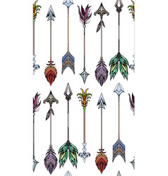 seamless pattern with colored boho arrows vector image