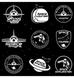Set of retro and modern space travel badges vector