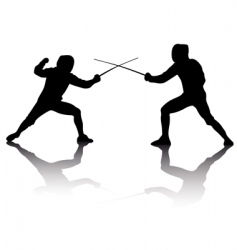 silhouettes of athletes fencers vector image vector image