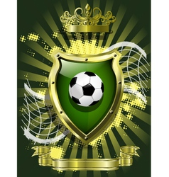 soccer ball on background of the shield vector image vector image