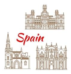 Thin line icons of Spanish landmarks vector image